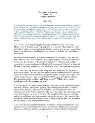 1 The Gospel of Matthew Week Ten Matthew 9:9-9:38 Day One 9 As ...