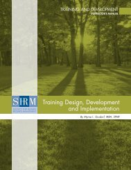 Training design, development and implementation - Society for ...