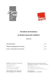 Formation de formateurs en danses issues des traditions - Irma