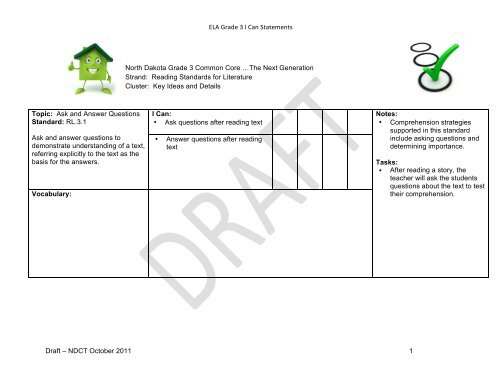 ELA Grade 3 I Can Statements Draft ND Curriculum Initiative