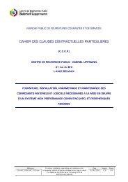 Cahier des Clauses Contractuelles Particulières