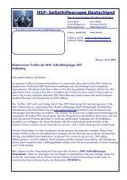 Jahrestreffen 2007 - HSP-Selbsthilfegruppe Deutschland EV
