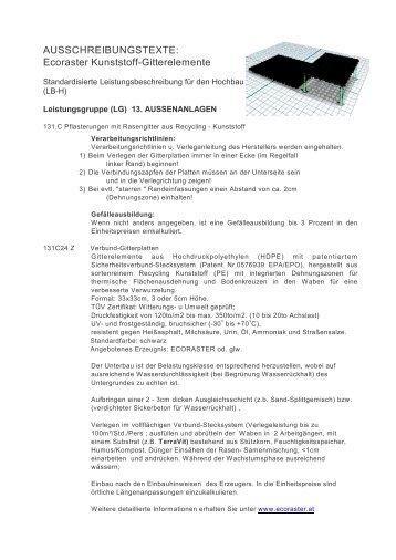 AUSSCHREIBUNGSTEXTE: Ecoraster Kunststoff-Gitterelemente