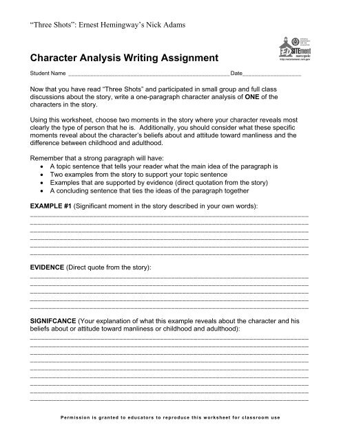 character analysis example paragraph