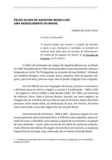 pelos olhos de agustina bessa-luis: uma redescoberta do brasil - TEL