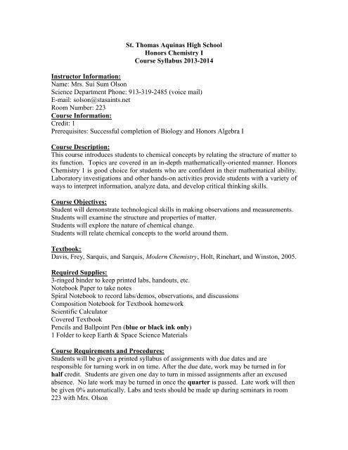 Hons Chem 1 Sylla   pdf - Saint Thomas Aquinas High School