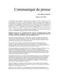communiqué nomination Prix Pierre «Esprit» Radisson