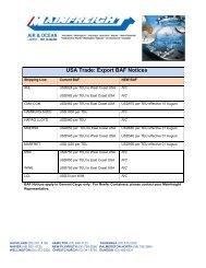 USA / NZ Shipping Trade Notices - Mainfreight