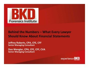 What Every Lawyer Should Know About Financial Statements - BKD
