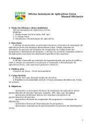 Oficina Instalação de Aplicativos Livres Manual Oficineiro