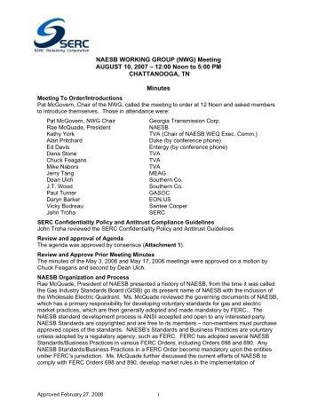 SERC NWG Minutes (8-10-07) Chattanooga.pdf - SERC Home Page