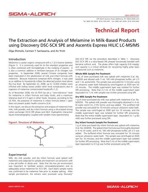 The Extraction and Analysis of Melamine in Milk     - Sigma