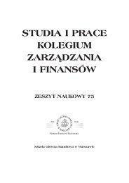 Zeszyt naukowy 75 (pdf) - Szkoła Główna Handlowa w Warszawie