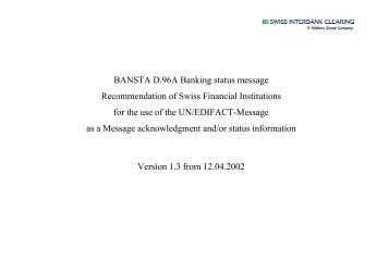 BANSTA D.96 A (Banking status message) - SIX - Interbank Clearing