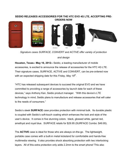 new concept f5947 a6a53 SEIDIO RELEASES ACCESSORIES FOR THE HTC EVO 4G LTE ...
