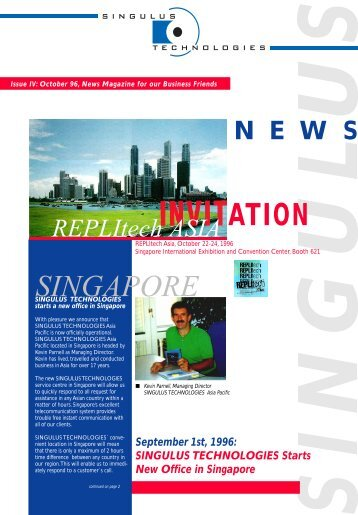 Issue IV: October 96, News Magazine for our - Singulus ...