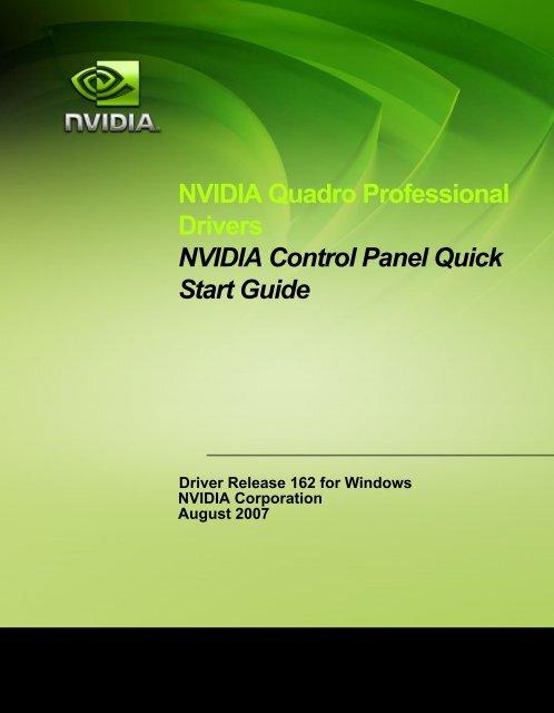 NVIDIA Quadro Professional Drivers NVIDIA Control Panel