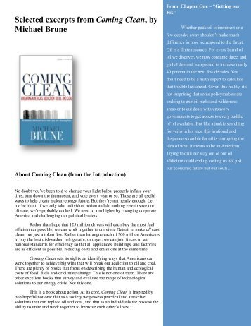 Selected excerpts from Coming Clean, by Michael Brune - Sierra Club
