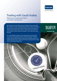 Advice on Trading with Saudi Arabia - Intertek