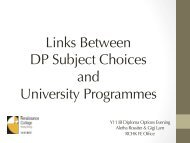 Links Between DP Subject Choices and University Programmes
