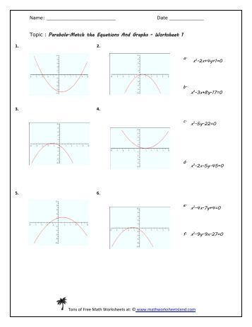 Worksheets Parabola Worksheets math 0090 lab worksheet 14 south texas college parabola equation match five pack worksheets