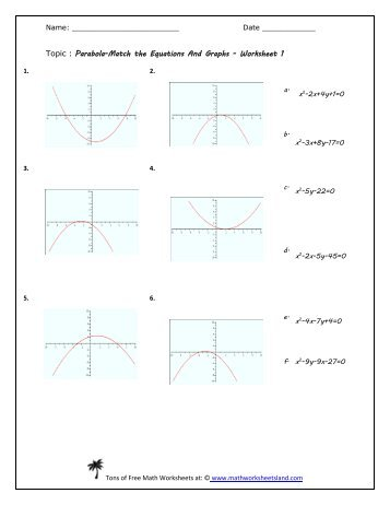 parabolas worksheet worksheets releaseboard free printable worksheets and activities. Black Bedroom Furniture Sets. Home Design Ideas