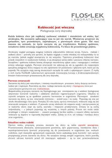 ANTI-AGING - pielęgnacja cery dojrzałej - Floslek