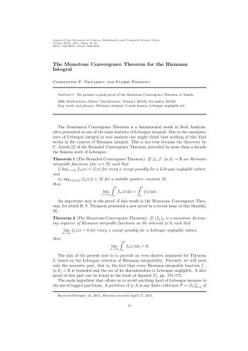 The Monotone Convergence Theorem for the Riemann Integral