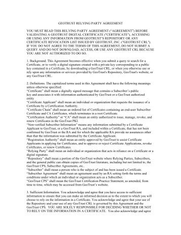 GEOTRUST RELYING PARTY AGREEMENT YOU MUST READ ...
