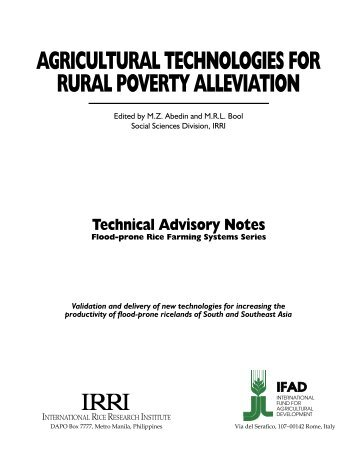 agricultural technologies for rural poverty alleviation - IRRI books
