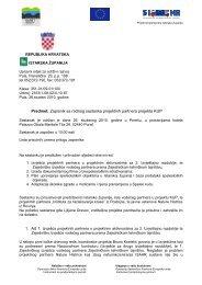 Predmet: Zapisnik sa radnog sastanka projektnih partnera projekta ...