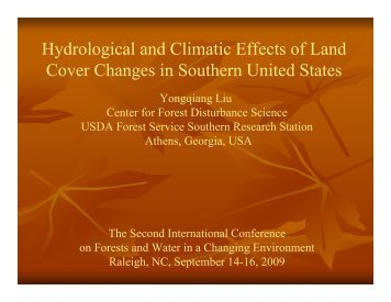 Hydrological and Climatic Effects of Land Cover Changes in ...