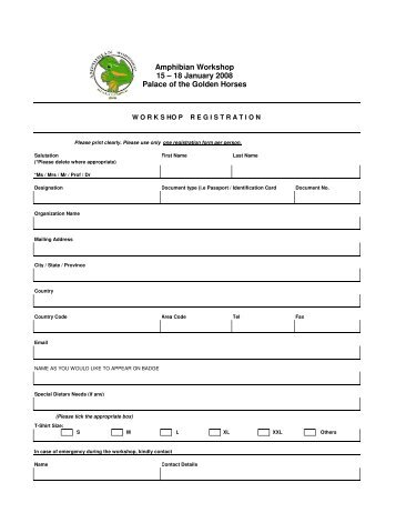 registration form - Zoo Negara