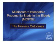 Multicenter Osteopathic Pneumonia Study in the Elderly (MOPSE ...
