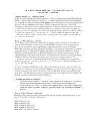 Character Analysis - Dutchess Community College