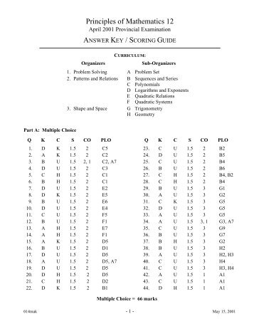 Principles of Mathematics 12 - QuestionBank.CA