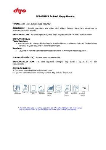 AKROSÜPER Su Bazlı Ahşap Macunu - Dyo