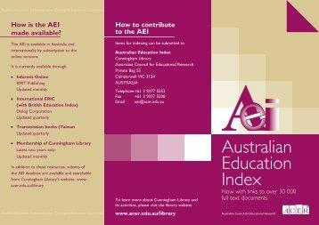 Download Australian Education Index Brochure - ACER