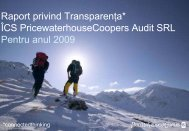 Raport privind Transparenţa* ÎCS PricewaterhouseCoopers Audit ...