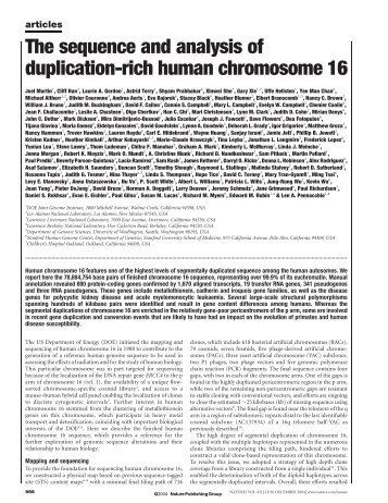 The sequence and analysis of duplication-rich human chromosome 16