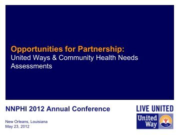 Opportunities for Partnership: United Way & Community Health ...
