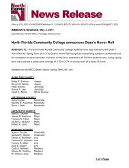 North Florida Community College announces Dean's Honor Roll