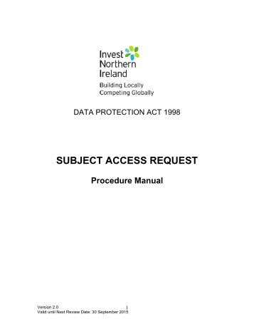 Information governance subject access request procedure manual