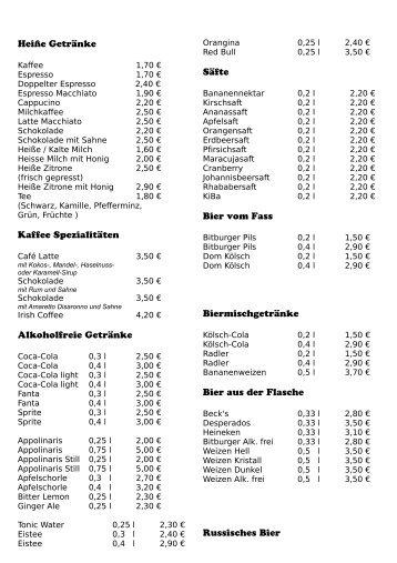 Heiße Getränke Kaffee Spezialitäten Alkoholfreie Getränke Säfte ...
