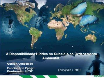 A Disponibilidade Hídrica no Subsídio ao Ordenamento Ambiental.