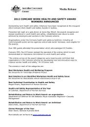 2012 Comcare Work Health and Safety Award winners announced