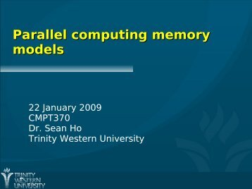 Parallel computing memory models