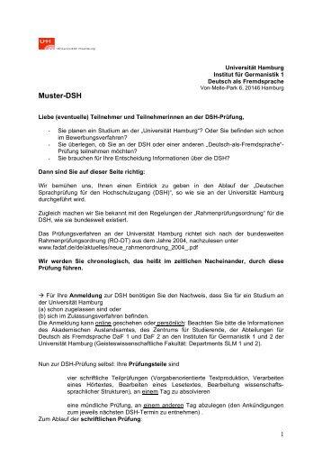 muster dsh slm universitt hamburg - Dsh Prfung Muster