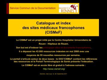 Catalogue et index des sites médicaux francophones (CISMEF)