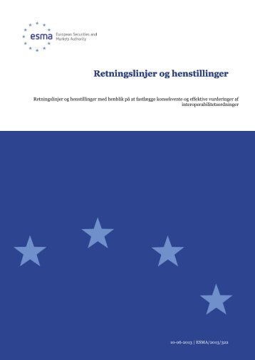 Retningslinjer og henstillinger Retningslinjer og ... - Esma - Europa